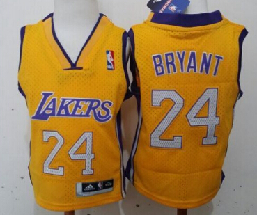 Los Angeles Lakers #24 Kobe Bryant Yellow Toddlers Jersey