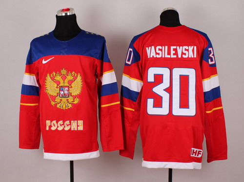 2014 Olympics Russia #30 Andrei Vasilevski Red Jersey