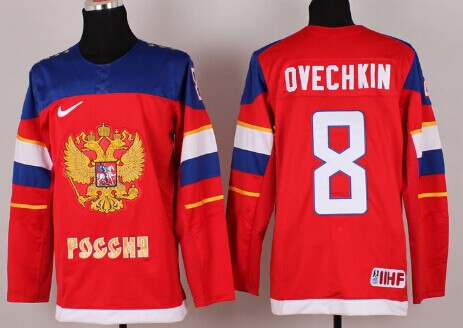2014 Olympics Russia #8 Alex Ovechkin Red Jersey