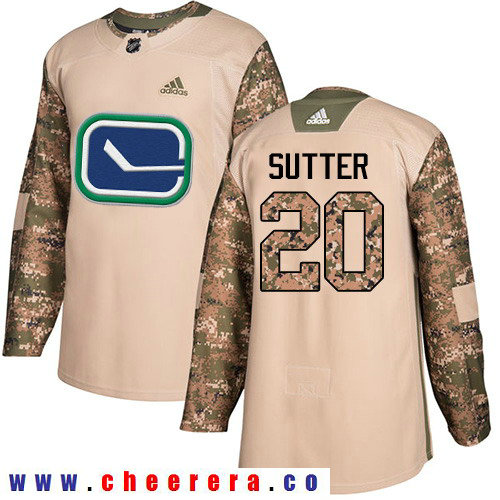 Adidas Canucks #20 Brandon Sutter Camo Authentic 2017 Veterans Day Stitched NHL Jersey