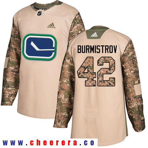 Adidas Canucks #42 Alex Burmistrov Camo Authentic 2017 Veterans Day Stitched NHL Jersey