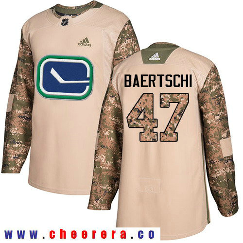 Adidas Canucks #47 Sven Baertschi Camo Authentic 2017 Veterans Day Stitched NHL Jersey