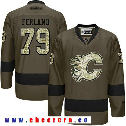 Adidas Flames #79 Michael Ferland Green Salute to Service Stitched NHL Jersey