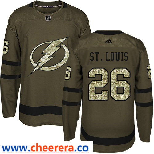 Adidas Men's Tampa Bay Lightning #26 Martin St. Louis Green Salute to Service Stitched NHL Jersey