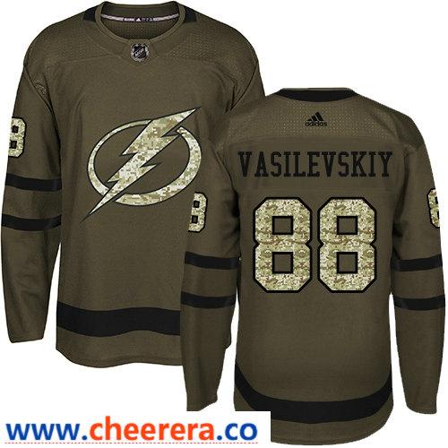 Adidas Men's Tampa Bay Lightning #88 Andrei Vasilevskiy Green Salute to Service Stitched NHL Jersey