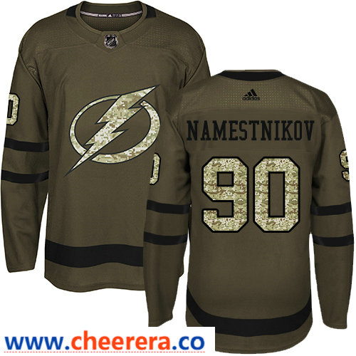 Adidas Men's Tampa Bay Lightning #90 Vladislav Namestnikov Green Salute to Service Stitched NHL Jersey