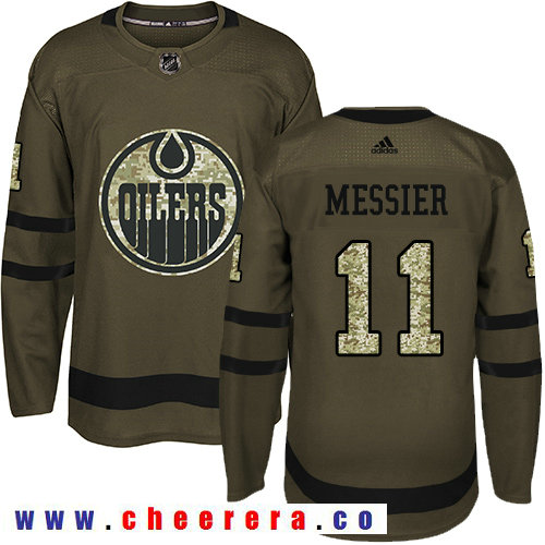 Adidas Oilers #11 Mark Messier Green Salute to Service Stitched NHL Jersey