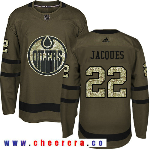 Adidas Oilers #22 Jean-Francois Jacques Green Salute to Service Stitched NHL Jersey