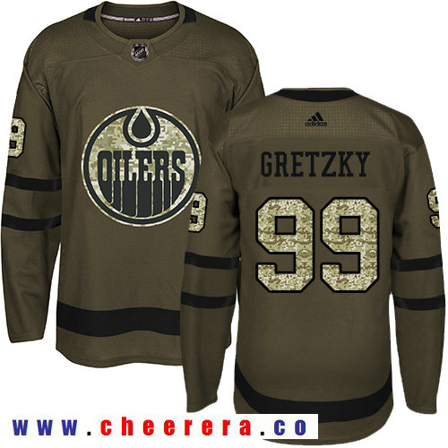Adidas Oilers #99 Wayne Gretzky Green Salute to Service Stitched NHL Jersey