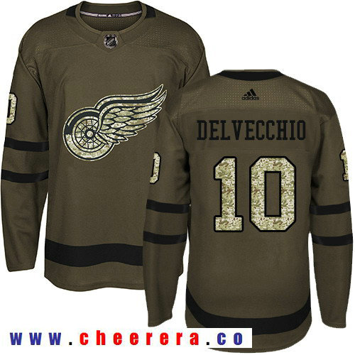 Adidas Red Wings #10 Alex Delvecchio Green Salute to Service Stitched NHL Jersey