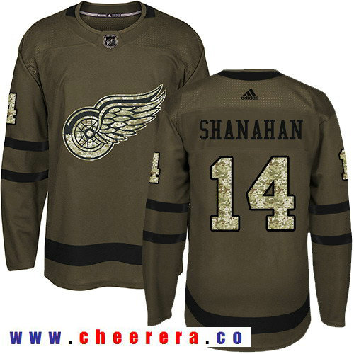 Adidas Red Wings #14 Brendan Shanahan Green Salute to Service Stitched NHL Jersey