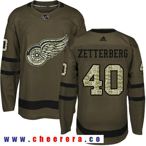 Adidas Red Wings #40 Henrik Zetterberg Green Salute to Service Stitched NHL Jersey