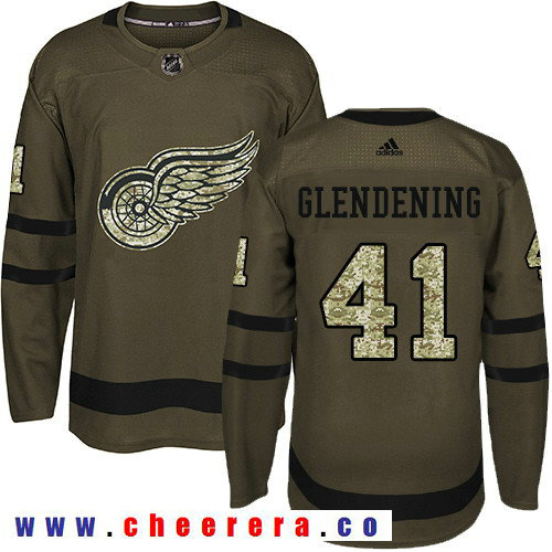 Adidas Red Wings #41 Luke Glendening Green Salute to Service Stitched NHL Jersey