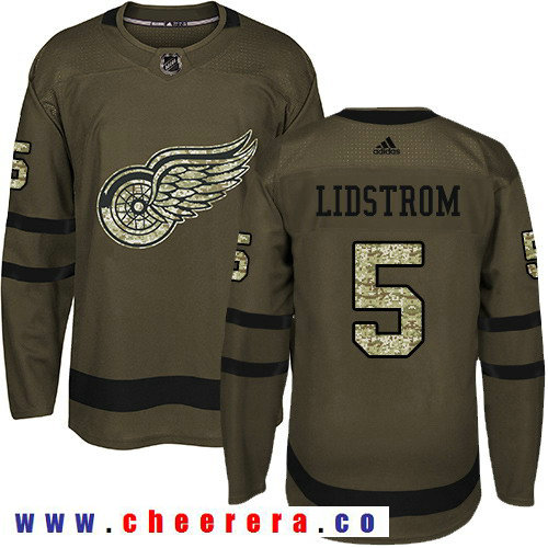 Adidas Red Wings #5 Nicklas Lidstrom Green Salute to Service Stitched NHL Jersey