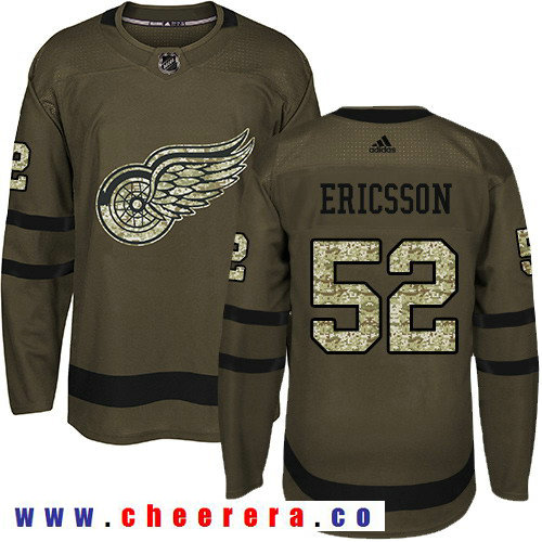 Adidas Red Wings #52 Jonathan Ericsson Green Salute to Service Stitched NHL Jersey