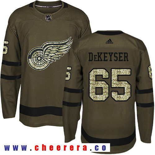 Adidas Red Wings #65 Danny DeKeyser Green Salute to Service Stitched NHL Jersey