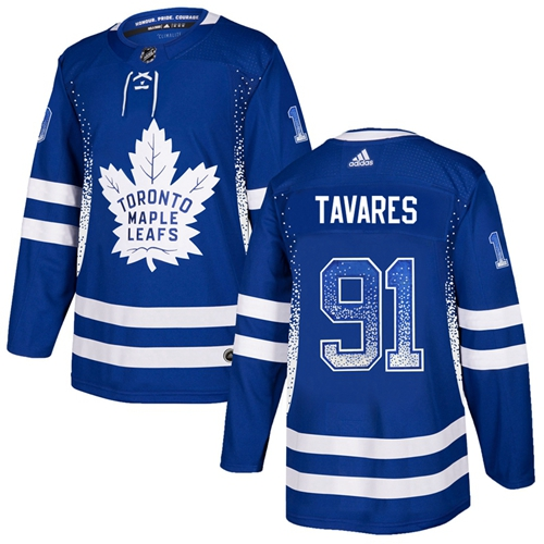 Adidas Toronto Maple Leafs #91 John Tavares Blue Home Authentic Drift Fashion Stitched NHL Jersey