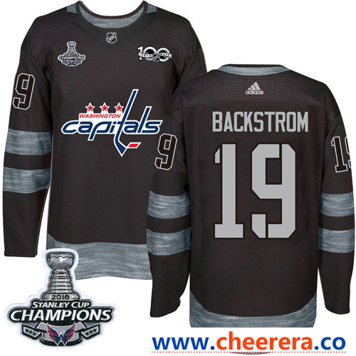 Adidas Washington Capitals #19 Nicklas Backstrom Black 1917-2017 100th Anniversary Stanley Cup Final Champions Stitched NHL Jersey