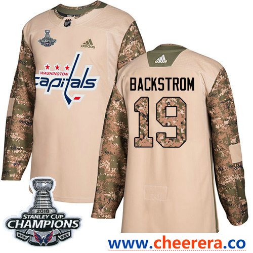 Adidas Washington Capitals #19 Nicklas Backstrom Camo Authentic 2017 Veterans Day Stanley Cup Final Champions Stitched NHL Jersey