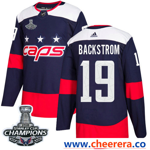 Adidas Washington Capitals #19 Nicklas Backstrom Navy Authentic 2018 Stadium Series Stanley Cup Final Champions Stitched NHL Jersey