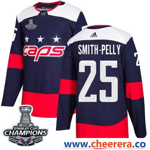 Adidas Washington Capitals #25 Devante Smith-Pelly Navy Authentic 2018 Stadium Series Stanley Cup Final Champions Stitched NHL Jersey