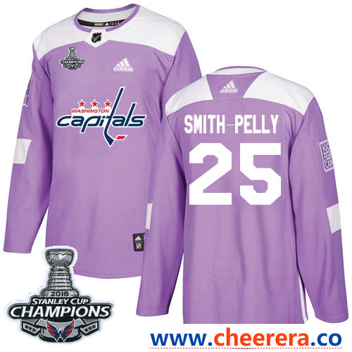 Adidas Washington Capitals #25 Devante Smith-Pelly Purple Authentic Fights Cancer Stanley Cup Final Champions Stitched NHL Jersey