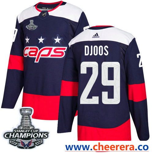 Adidas Washington Capitals #29 Christian Djoos Navy Authentic 2018 Stadium Series Stanley Cup Final Champions Stitched NHL Jersey