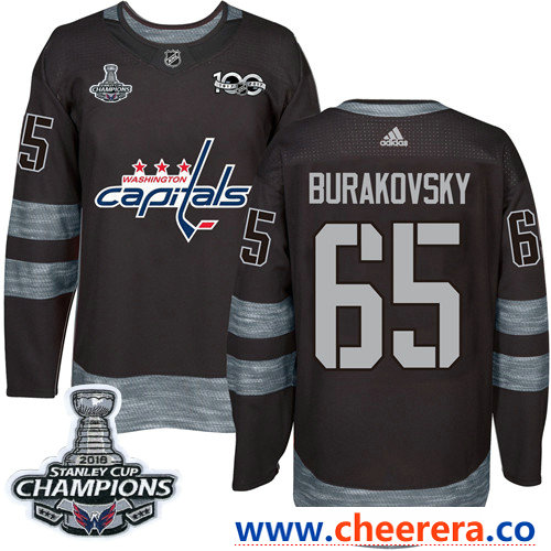 Adidas Washington Capitals #65 Andre Burakovsky Black 1917-2017 100th Anniversary Stanley Cup Final Champions Stitched NHL Jersey