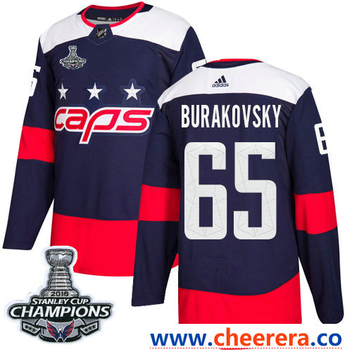 Adidas Washington Capitals #65 Andre Burakovsky Navy Authentic 2018 Stadium Series Stanley Cup Final Champions Stitched NHL Jersey