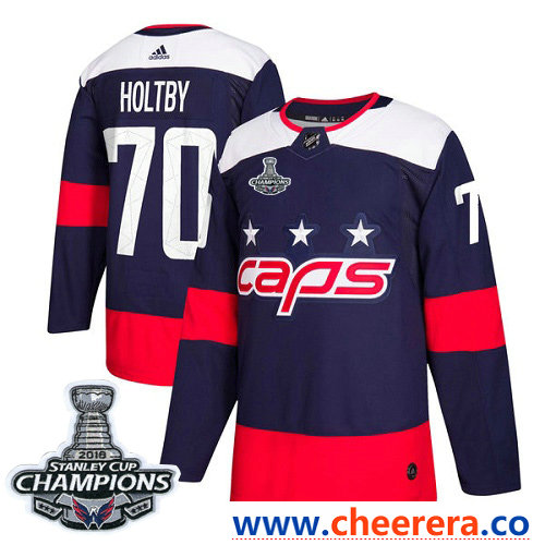 Adidas Washington Capitals #70 Braden Holtby Navy Authentic 2018 Stadium Series Stanley Cup Final Champions Stitched NHL Jersey