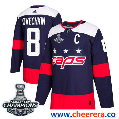 Adidas Washington Capitals #8 Alex Ovechkin Navy Authentic 2018 Stadium Series Stanley Cup Final Champions Stitched NHL Jersey
