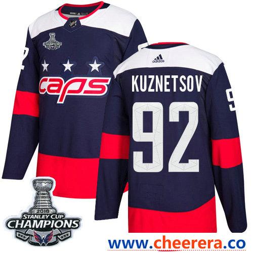 Adidas Washington Capitals #92 Evgeny Kuznetsov Navy Authentic 2018 Stadium Series Stanley Cup Final Champions Stitched NHL Jersey