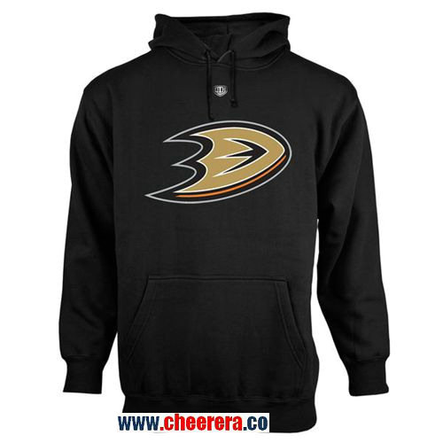 Anaheim Ducks Black Old Time Hockey Big Logo with Crest Pullover Hoodie