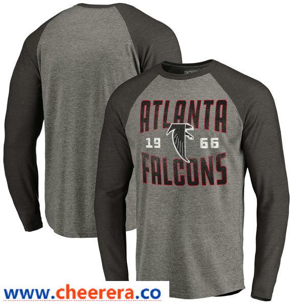 Atlanta Falcons NFL Pro Line by Fanatics Branded Timeless Collection Antique Stack Long Sleeve Tri-Blend Raglan T-Shirt Ash