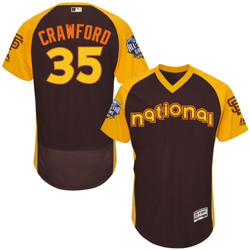 Brandon Crawford Brown 2016 All-Star Jersey - Men's National League San Francisco Giants #35 Flex Base Majestic MLB Collection Jersey
