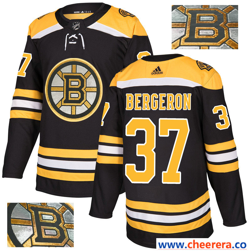 Men's NHL Boston Bruins #37 Patrice Bergeron Black With Special Glittery Logo Adidas Jersey