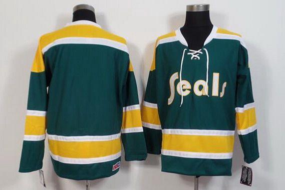 California Golden Seals Blank 1970-71 Green CCM Vintage Throwback Men's Jersey