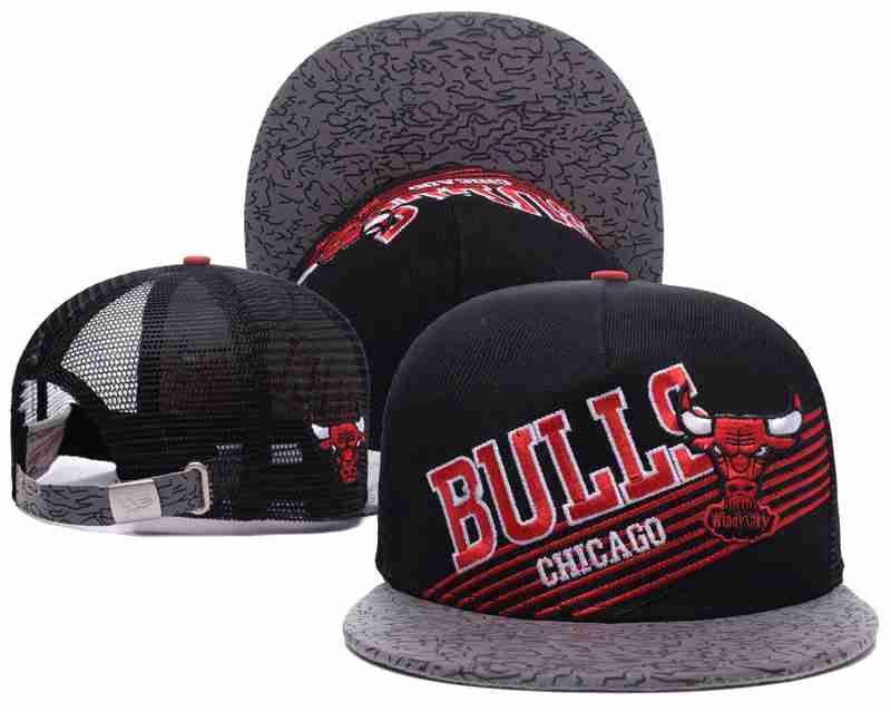 Chicago Bulls Mesh Snapback Hat Black-TX5