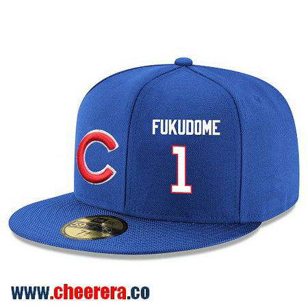 Chicago Cubs #1 Kosuke Fukudome Snapback Cap MLB Player Royal Blue with White Number Hat