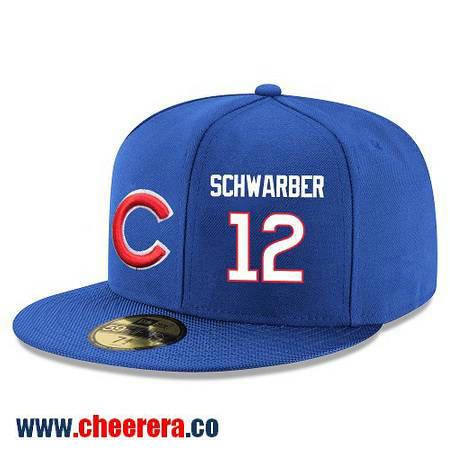Chicago Cubs #12 Kyle Schwarber Snapback Cap MLB Player Royal Blue with White Number Hat
