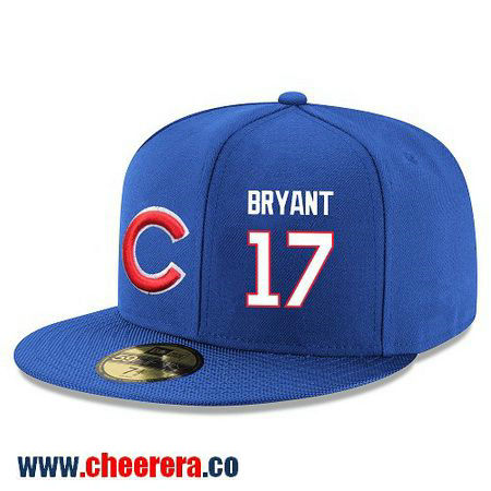 Chicago Cubs #17 Kris Bryant Snapback Cap MLB Player Royal Blue with White Number Hat