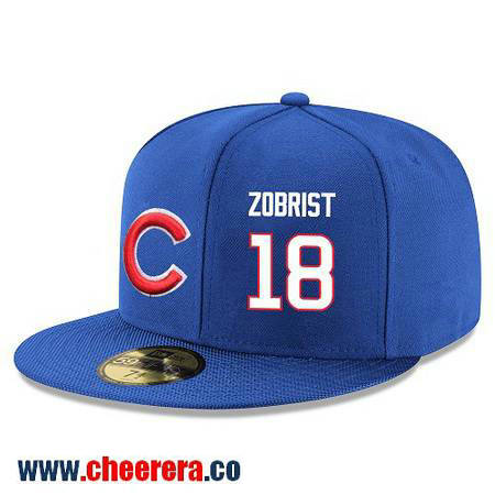 Chicago Cubs #18 Ben Zobrist Snapback Cap MLB Player Royal Blue with White Number Hat
