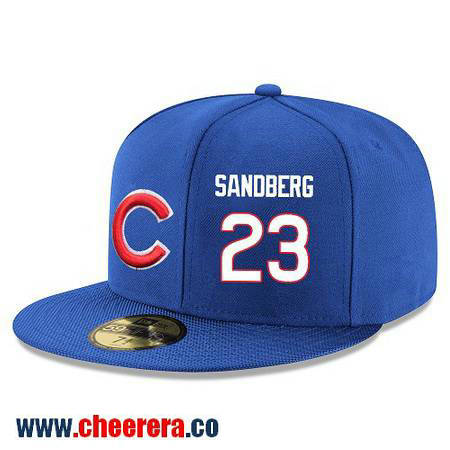 Chicago Cubs #23 Ryne Sandberg Snapback Cap MLB Player Royal Blue with White Number Hat