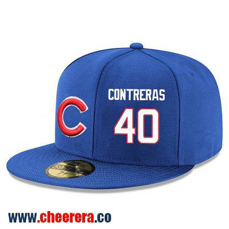 Chicago Cubs #40 Willson Contreras Snapback Cap MLB Player Royal Blue with White Number Hat