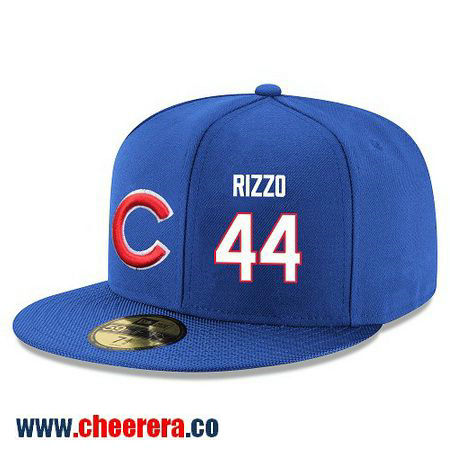 Chicago Cubs #44 Anthony Rizzo Snapback Cap MLB Player Royal Blue with White Number Hat