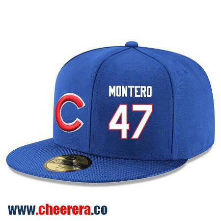 Chicago Cubs #47 Miguel Montero Snapback Cap MLB Player Royal Blue with White Number Hat