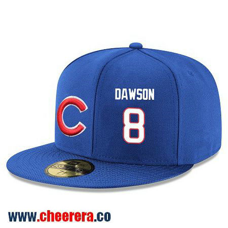 Chicago Cubs #8 Andre Dawson Snapback Cap MLB Player Royal Blue with White Number Hat