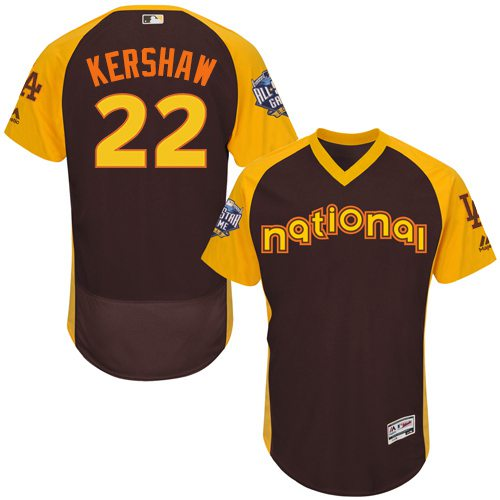 Clayton Kershaw Brown 2016 All-Star Jersey - Men's National League Los Angeles Dodgers #22 Flex Base Majestic MLB Collection Jersey