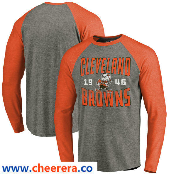 Cleveland Browns NFL Pro Line by Fanatics Branded Timeless Collection Antique Stack Long Sleeve Tri-Blend Raglan T-Shirt Ash