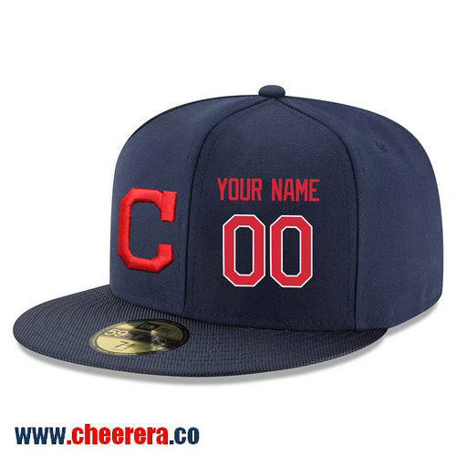 Cleveland Indians Custom Snapback Cap MLB Player Navy Blue with Red Number Hat